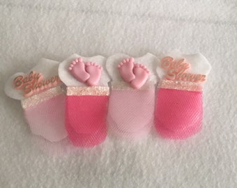 """Baby shower """"tutu cute"""" guests corsages/pin on (set of 12)"""
