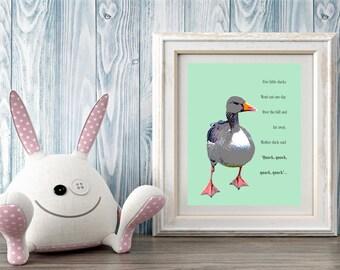 Five Little Ducks, Digital print, Nursery wall art, Printable art, Gift