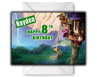 DISNEY'S TANGLED Personalised Birthday / Christmas / Greetings Card