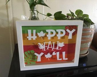 """8""""x10"""" happy fall yall shadow box"""