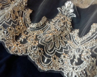 """Wedding Veil with Lace & beads edging (78"""" x 57.5"""")"""