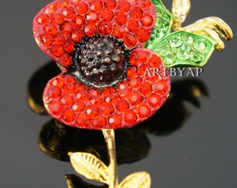 Sparkling Red Poppy Brooch, Pin, Remembrance Day