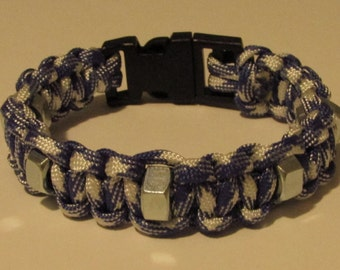 Mens paracord bracelet with hex nuts