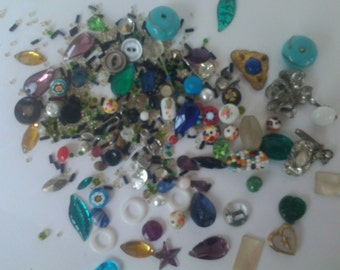 Craft mix, beads and fake jewels