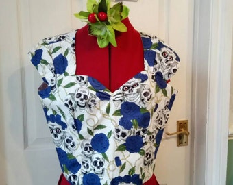 Rockabilly Skull and Roses sweetheart top- size 12