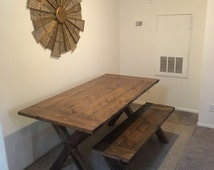 Rustic Handmade Farmhouse Dining Table with Matching Bench X Base Trestle FREE SHIPPING