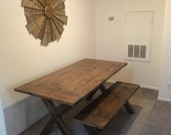 Rustic Handmade Farmhouse Dining Table with Matching Bench X Base Trestle