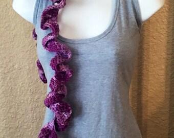 Purple tones Ruffled Skinny Scarf