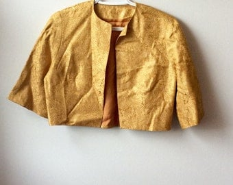 Vintage 1950s Cropped Gold Brocade Bolero size medium or large VLV