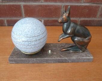 French Vintage/Art Deco Table Lamp Spelter Kangaroo On Marble Base