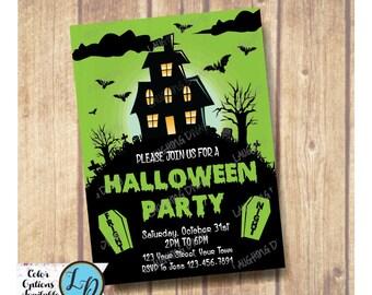 Kids Haunted House Halloween Invitation; Haunted House Invitation; Kids Halloween Invitation