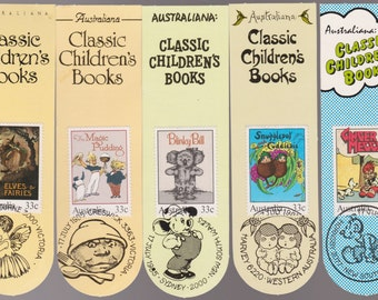 Cute Australian Classic Childrens Book Tags Aussie FDCs- Blinky Bill, Ginger Meggs, Magic Pudding, Snugglepot & Cuddlepie  bedtime stories