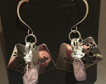 Earrings - Purple amethyst rocks with silver charms
