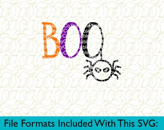 Boo Svg, Png, Dxf, Eps, Pdf, Jpeg files for Cutting Machines Silhouette Cameo or Cricut Halloween svg Spider svg Fall svg