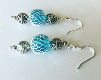 Blue glass bead with silver mesh earrings