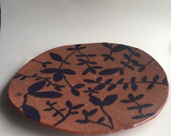 Ceramic Platter with Leafy Vines