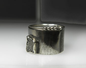raw diamond ring, rough diamond men ring, contemporary, sculptured, industrial