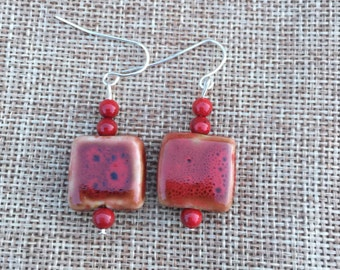 Red Ceramic Earrings