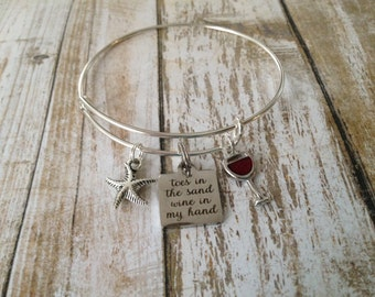 """Bangle bracelet-""""Toes in the sand, wine in my hand"""", gift for beach lover"""