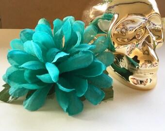 Teal Hair Flower Clip, Blue Hair Flower Clip, Red Hair Flower Clip