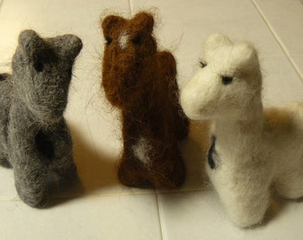 Needle Felted Alpacas