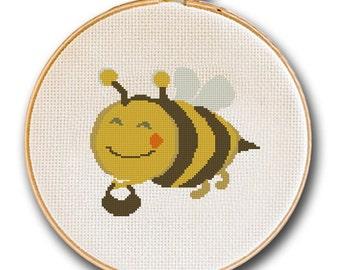 Smiling Honey Bee Cross Stitch Pattern, Nursery Decor, Children Room Wall Decor, Instant Download, Needlecraft, Baby Shower Gift