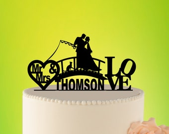 FISHING wedding cake topper, Fishing Topper, Romantic Wedding Topper, Cake topper with cat, Custom Topper, Acrylic Topper with cat L2-01-015