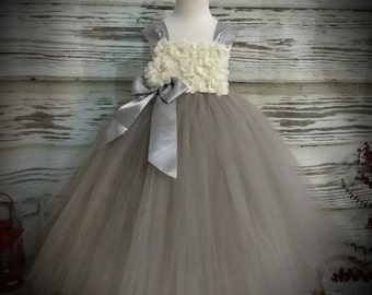 Free Shipping  to USA Custom Made Ivory and Grey Tutu Dress-Dress for Flower Girls Available in Sizes Newborn  to 14 years old
