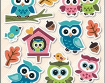 Hologram stickers Owls 19x10cm, Kids Stickers, Childrens Stickers Owls, Cute Colorful Self-adhesive Stickers with Owls(Scrapbooking, Gluing)
