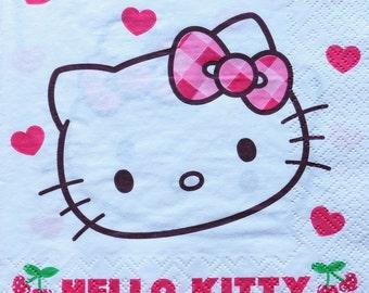 2 pcs Decoupage napkin 33x33cm, 2-ply, Paper Napkin, Decoupage, Scrapbooking, Hello Kitty, Sanrio -NR27
