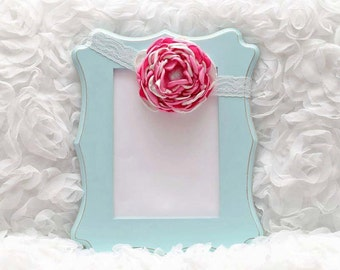 Pink/Cream Satin Flower Headband, Flower Headband, Satin Flower, Hair Accessory, Baby/Girl Flower Headband, Ready to Ship