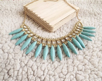 gold metal necklace and beads bohemian turquoise pins