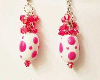 Fuschia Hot Pink Lampwork Cluster Earrings