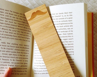 Laser Cut Bamboo Wooden Bookmark - Moustache