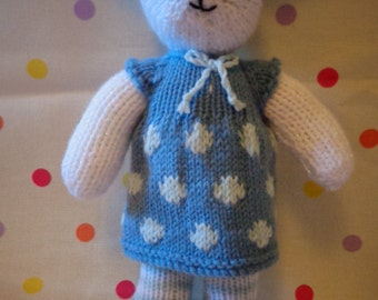 Knitted Bunny, Hand Made, Hand knitted, Bunny Rabbit, Dressed Bunny
