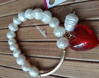 Pearl bracelet with heart Murano said