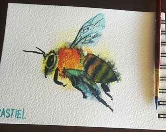 A fifth picture of a bee that I made with watercolor paints.