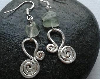 Green fluorite and silver earrings