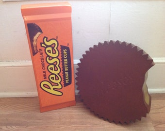 Large Reese's peanut butter cup and package advertising store display fake food