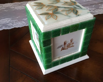 Green Tile Trinket Photo Cube