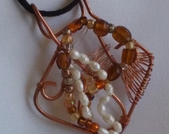 Copper, Freshwater Pearl and Amber Bead Pendant