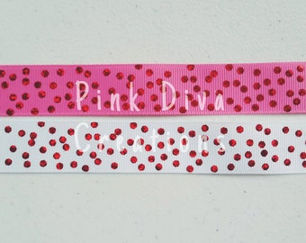 7/8 Hot Pink Confetti Dot USD ribbon - Hot Pink Dot Ribbon - Confetti Dot Ribbon - USDR