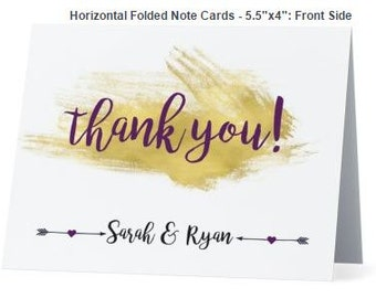Thank You Card / Folded or Flat option / Gold / Digital or Paper