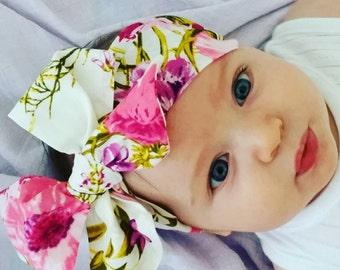Floral bow headband