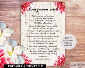 Honeymoon Wish,Honeymoon Fundraiser,Honeymoon Money,Holiday Fund Honeymoon,Poem Honeymoon Money,Printable Honeymoon Ideas,Honeymoon diy 001
