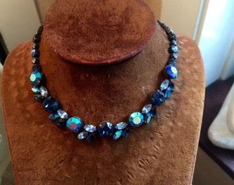 vintage regency blue necklace choker