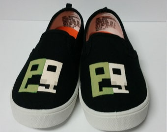 Custom Hand Painted Minecraft Inspired Creeper Art Shoes