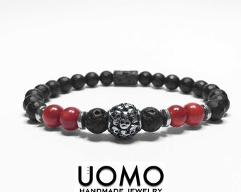 Skull beaded Bracelet with volcano and faceted beads (Elastic Bracelet)