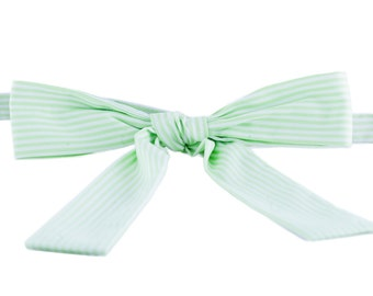 VABIEN Bow Tie Green/White Cotton