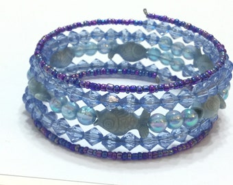 Blue fish spiral bangle